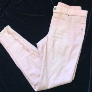 Pink straight leg jeans pull on
